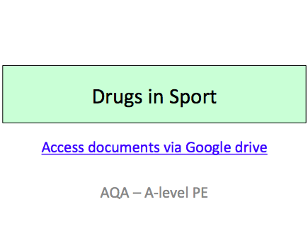 Drugs in Sport - Sport and Society - A Level PE (AQA) - New 2016 Specification #7582