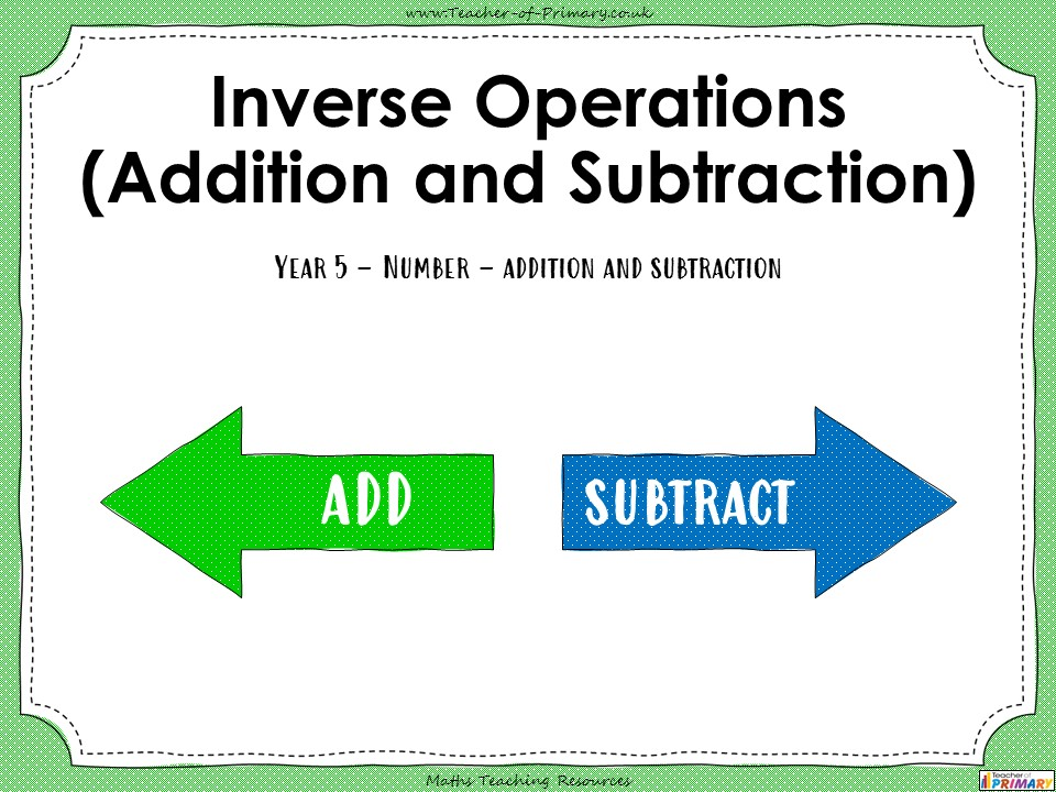 Inverse Operations - Year 5