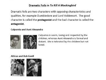 To Kill A Mockingbird Dramatic Foils Activity