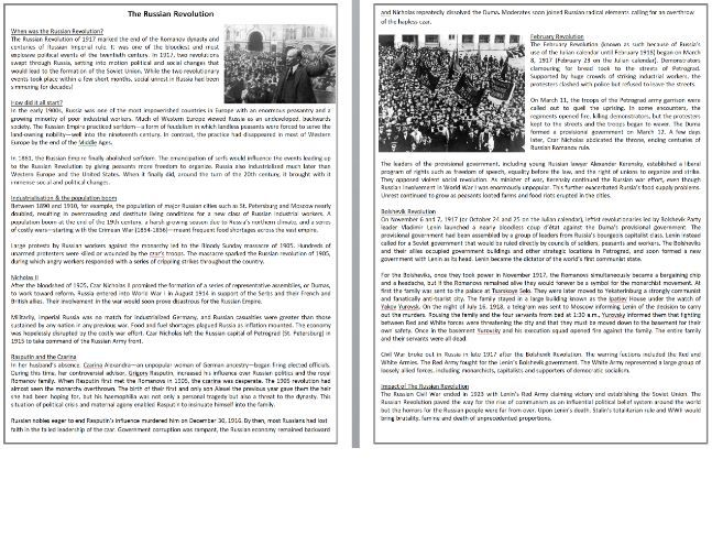 The Russian Revolution - Reading Comprehension / Informational Text