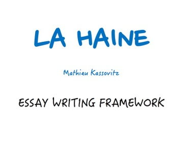la haine essay La haine genre: social realism, drama, crime themes of power, poverty, conflict, money, violence, abuse of authority and death set in france, shot in native french.