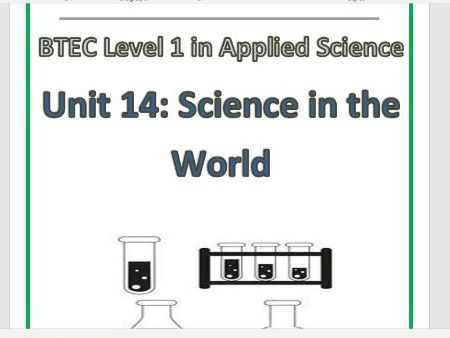 BTEC Level 1 in Science Workbook – Unit 14