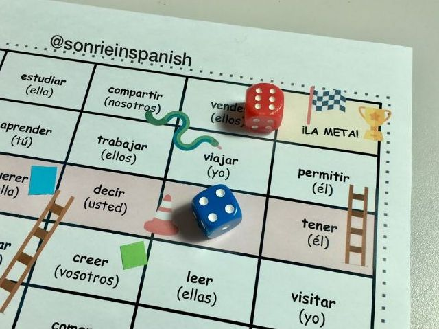 Spanish verbs conjugation- snake & ladders. Conjugación verbos español ADAPTABLE TEMPLATE BOARD GAME