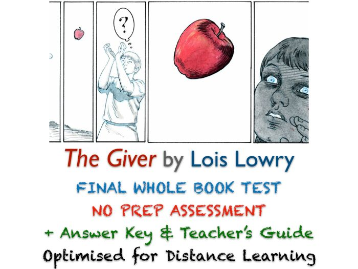 The Giver (Lois Lowry) Final Whole Book TEST (STORY + ESSAY) + ANSWERS