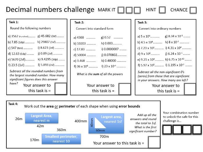 Crack the Code: Decimal Numbers (rounding, standard form, error bounds) - with solutions