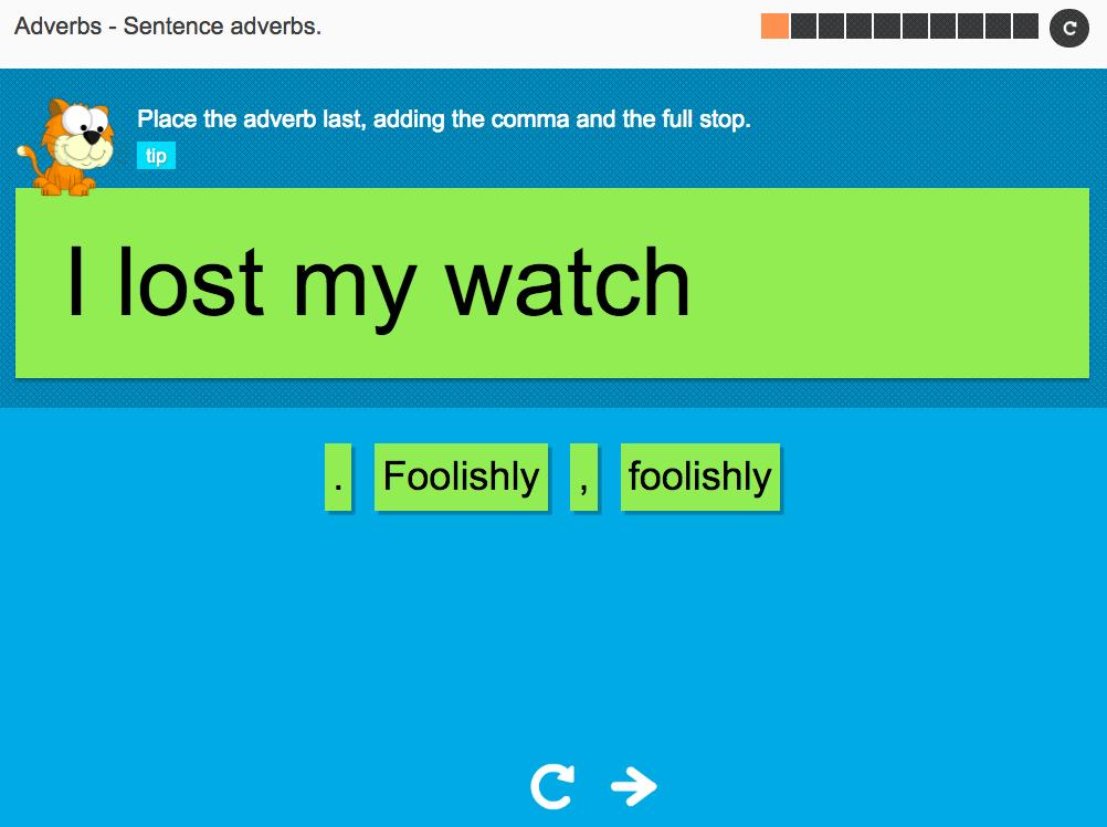 Sentence adverbs - Interactive Activity - KS3 Spag