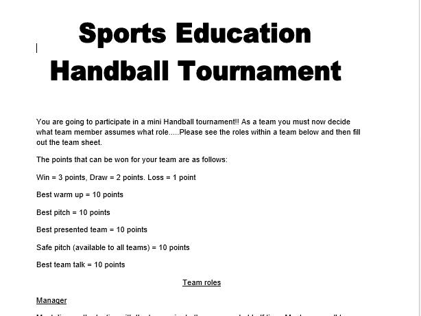 Handball Sports Education Workbook