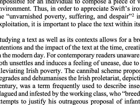 A* Essay, A Modest Proposal, Jonathan Swift, Irish Historical Context