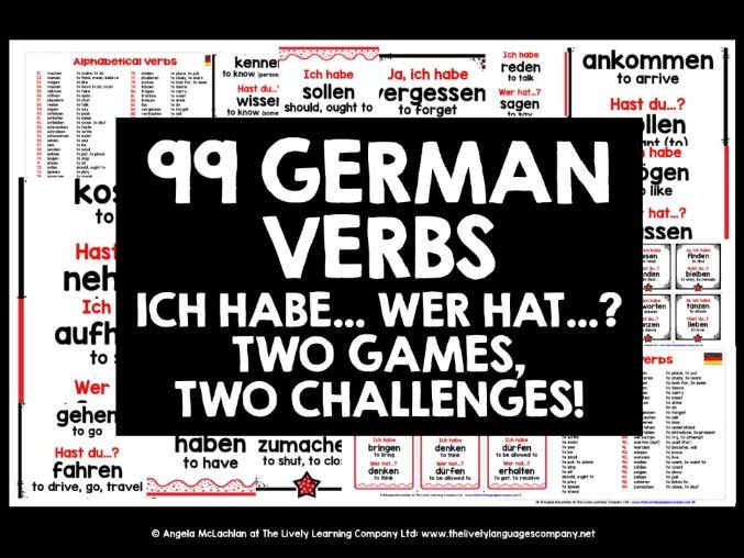 GERMAN VERBS I HAVE, WHO HAS? 2 GAMES & CHALLENGES