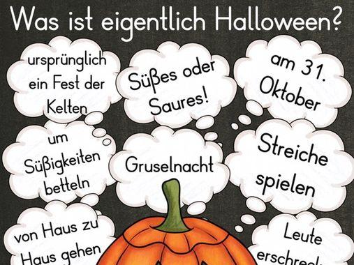 Deutsch / German cultural study Was ist Halloween? Sprechen und Schreiben vocab