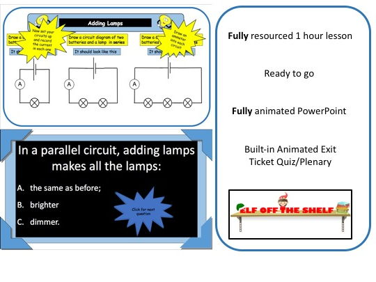 Electricity - Adding Lamps Affects Current in a Circuit KS3 - Animated PowerPoint and Resources