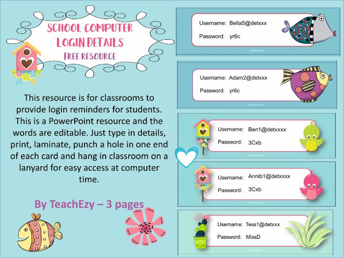 School Computer  LOGIN DETAILS Free resource