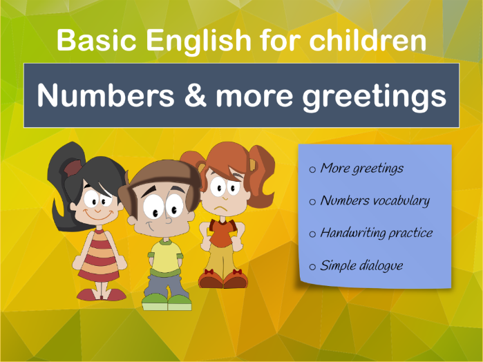 Numbers and more greetings lesson