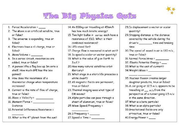 The Big Physics Quiz