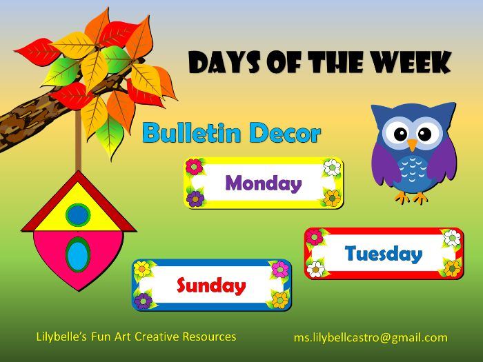 Days of the week Bulletin Decor (Printable)