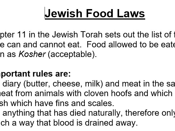 Religious food laws/rules info sheets KS3 R.E