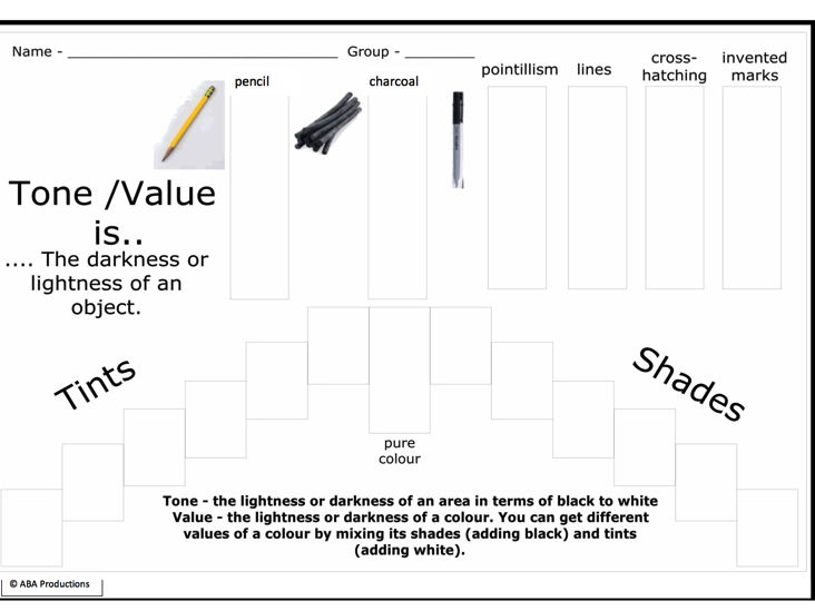 Tone- Value - worksheet