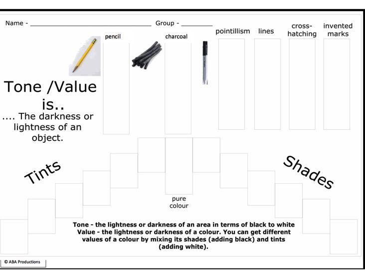 Tone- Value - worksheet