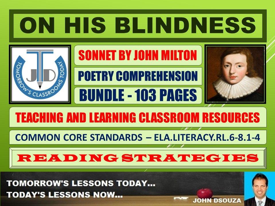 ON HIS BLINDNESS - MILTONIC SONNET - CLASSROOM RESOURCES - BUNDLE