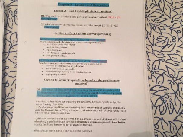 Over 150 past paper questions and answers for AQA GCSE PE ...