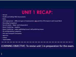 Unit 1: BTEC Music Revision Workbook