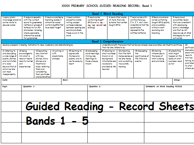 Guided Reading Records - Band 1 -5