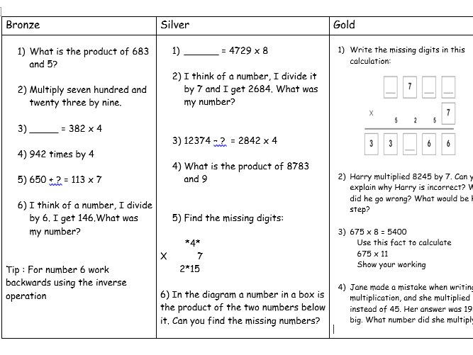 Year 5 - Multiplication - I can multiply using a formal written method