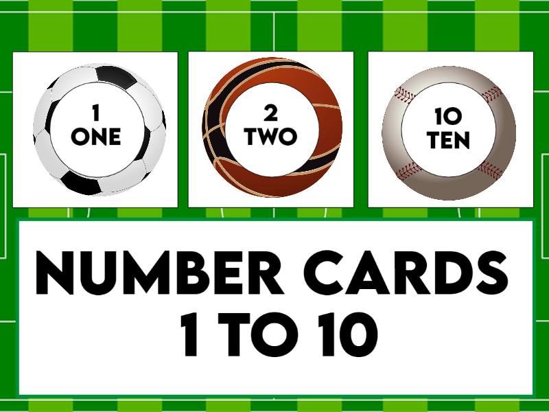 Number Cards on Balls 1 to 10