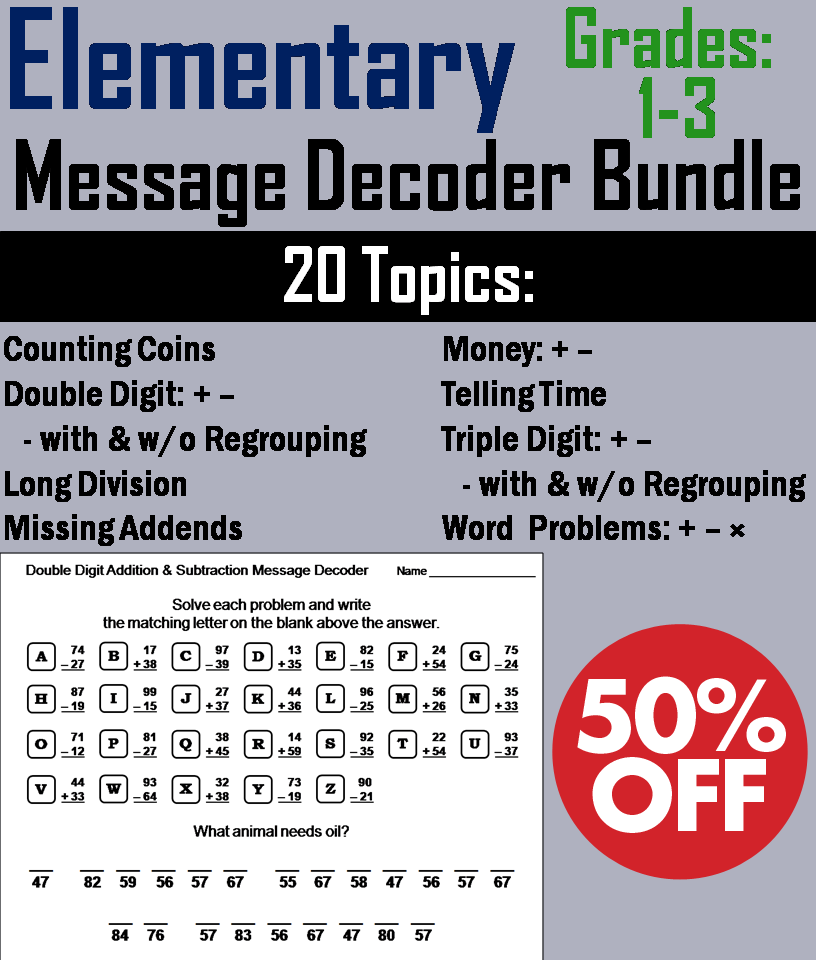 Elementary School: 1st to 3rd Grade Math Message Decoder Bundle