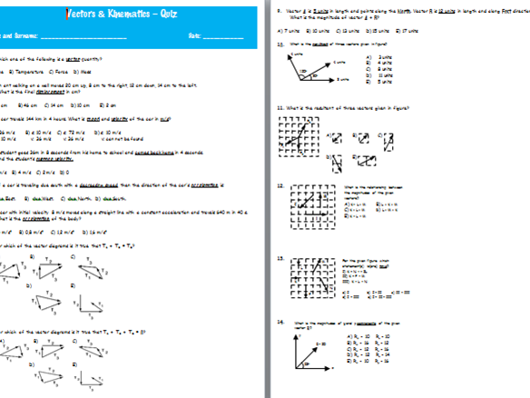 Vectors & Kinematics – QUIZ