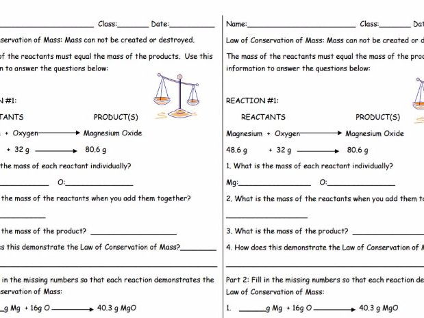 Law of Conservation of Mass Practice Sheet (2 per page)