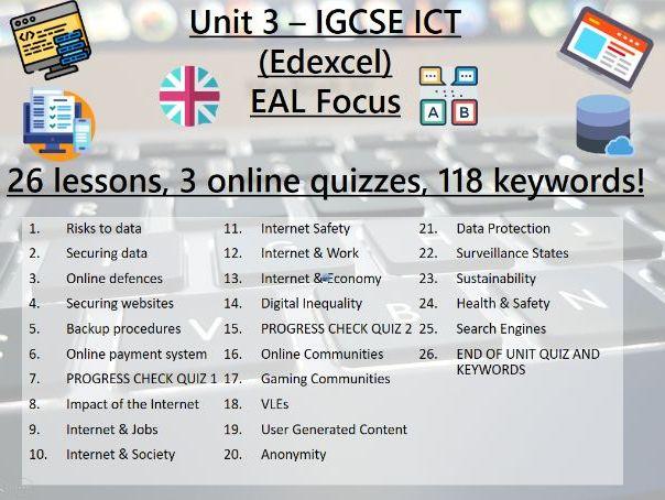 26 .ICT > IGCSE > Edexcel > Unit 3 > Operating Online > End of Unit Test & 116 Keyword Revision!
