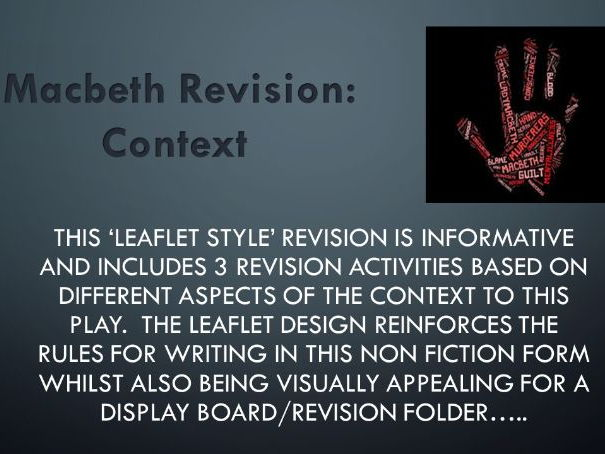 Macbeth: Context Revision (Leaflet Design)