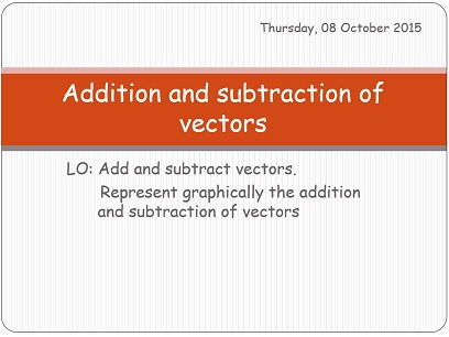 Addition and subtraction of vectors.