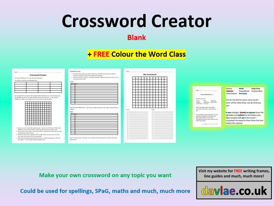 Crossword Creator - Blank (+ FREE COLOUR THE WORD CLASS) by davlae ...