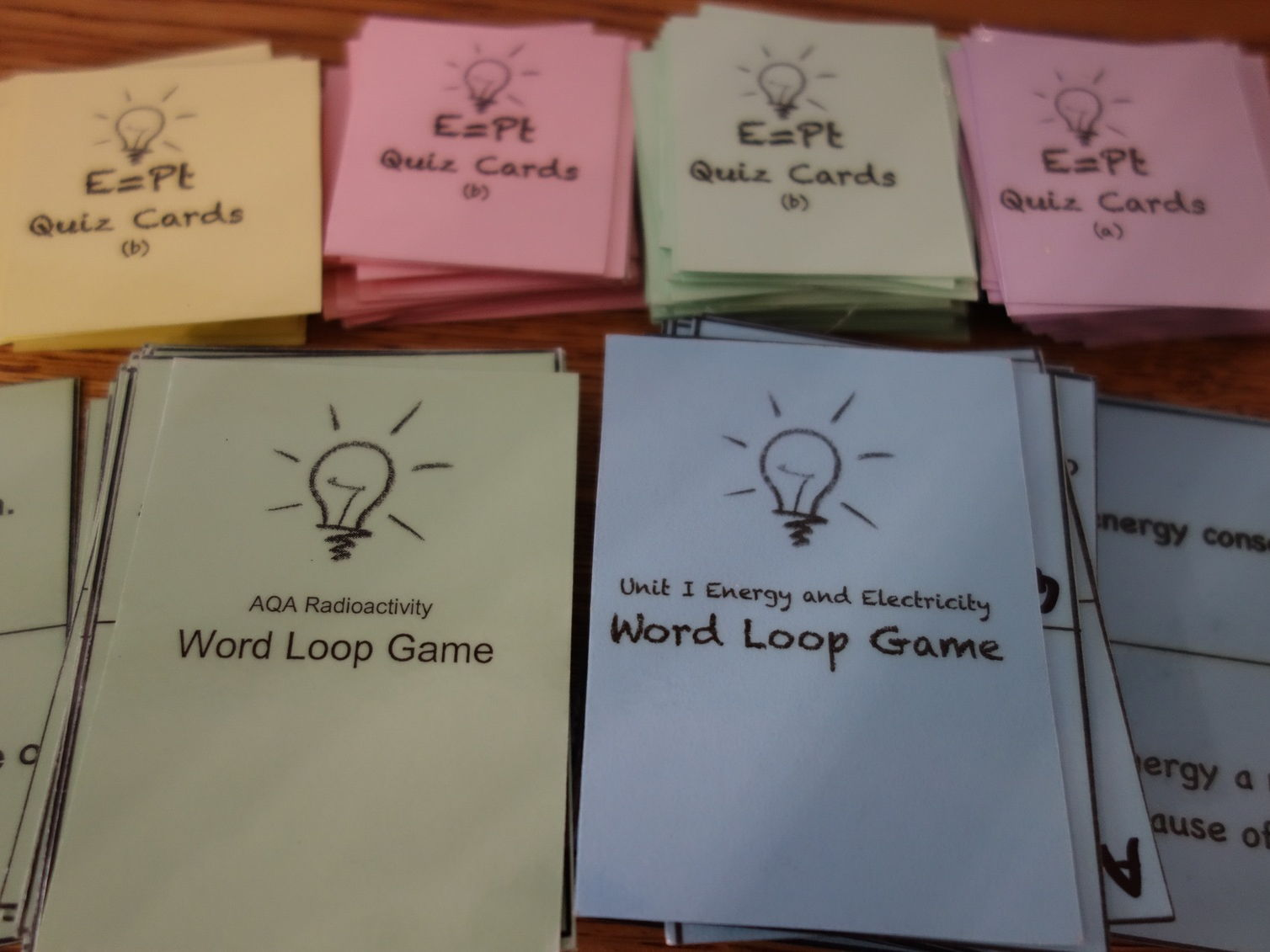 Physics Word loop game cards