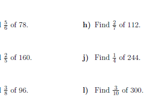 Fraction of an amount (non-calculator) worksheet (with solutions)
