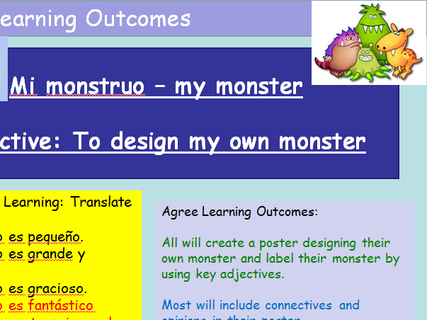KS3 Spanish Cover Lesson Design your own Monster