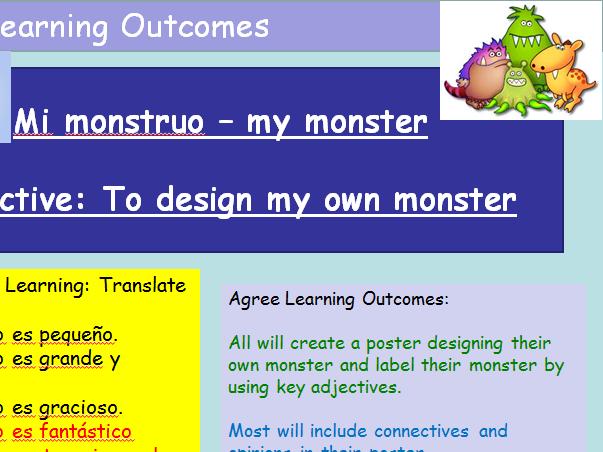 Spanish KS3 Design your own Monster Cover Lesson