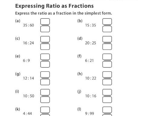 Expressing Ratio as Fractions