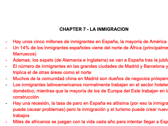 LA INMIGRACION FACT SHEET - A LEVEL SPANISH AQA