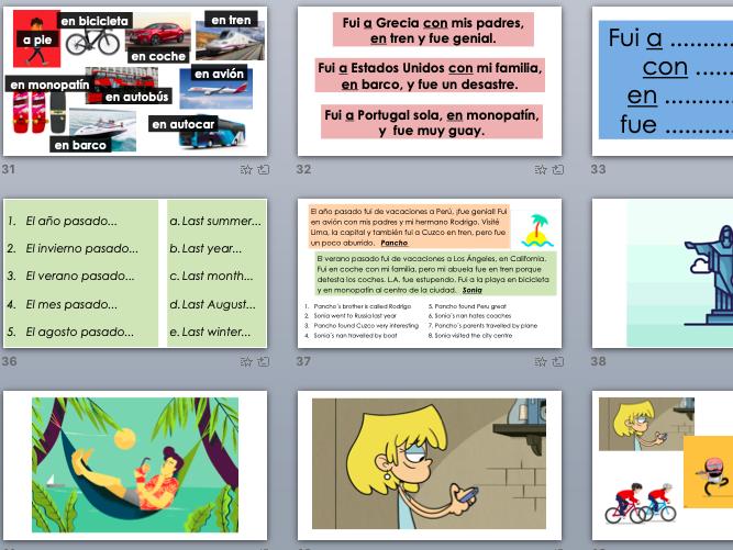 MIS VACACIONES full module powerpoint presentation KS3 SPANISH