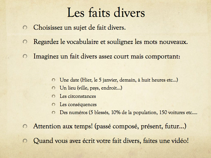 Faits Divers - news item activity