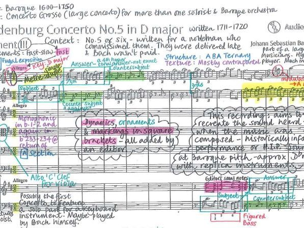 Brandenburg Concerto No.5 - Bach - Detailed colour-coded analysis - Pearson Edexcel GCSE Music 9-1