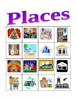 Places in English Bingo game