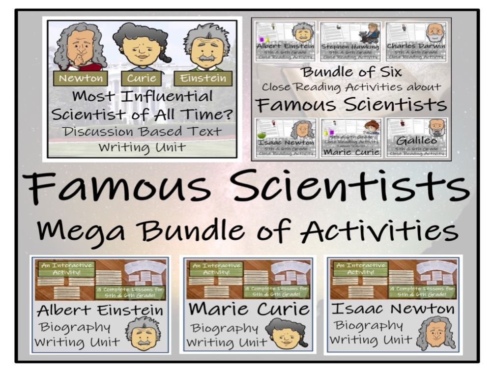 UKS2 Literacy - Famous Scientists Reading Comprehension & Writing Mega Bundle