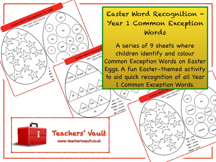 Easter Word Recognition - Year 1 Common Exception Words