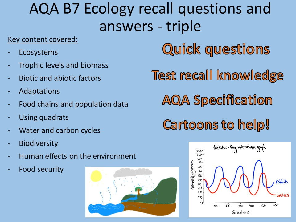 AQA B7 Biology TRIPLE - Ecology recall Qs