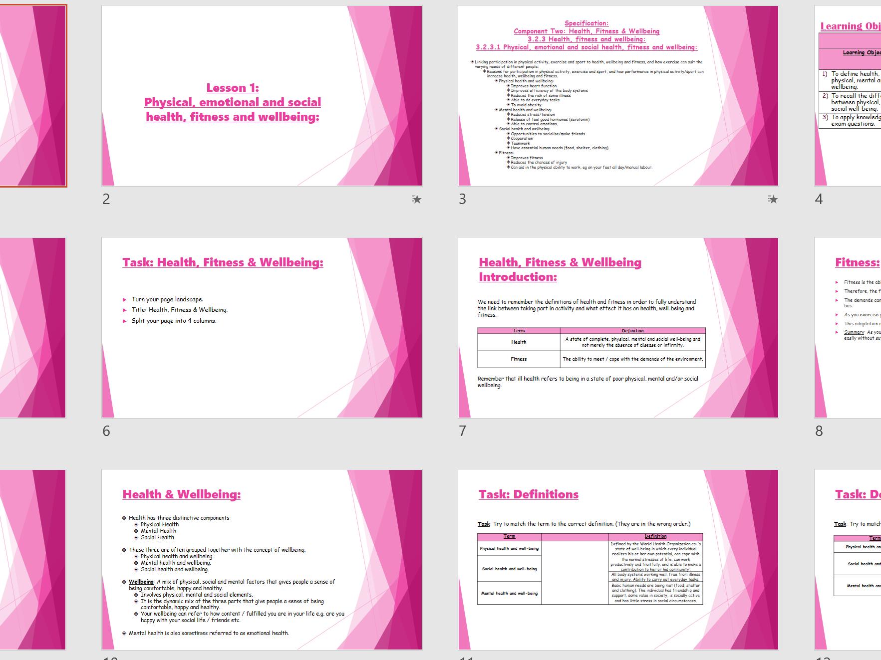 AQA 9-1 GCSE PE - Health Fitness & Wellbeing Topic Resource Bundle