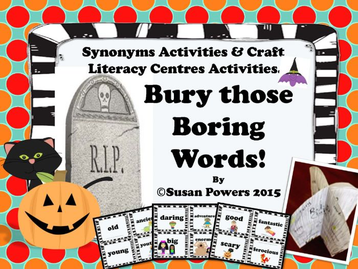 Bury Those Boring Words! Halloween Synonyms Activity